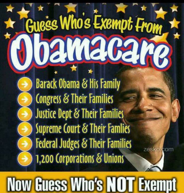 #IHaveBeenThinkingAnd Why are  EXEMPT from #OCare .@potus write an EO take away their Exemption #FeelThePain of #WeThePeople #ccot #Patriot<br>http://pic.twitter.com/PHLRrTIvop