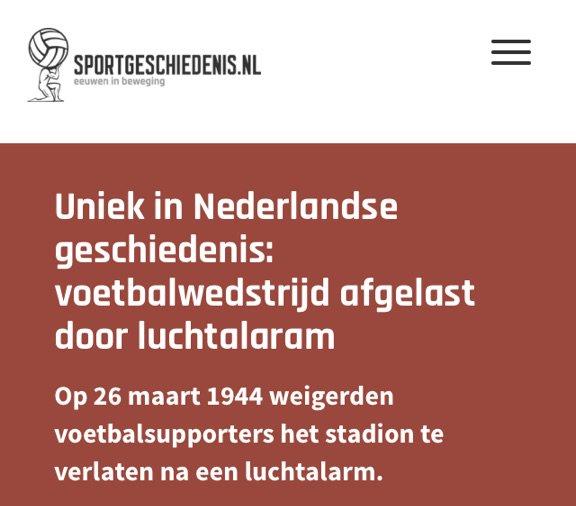Ajax-stadion De Meer is de enige plek waar een wedstrijd is gestaakt na luchtalarm: