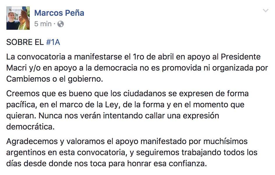 Marcos Peña sobre la marcha del #1A. https://t.co/nAOAaNEpX8