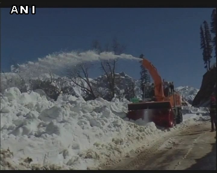 Heavy machinery deployed to clear the snow on the Mughal Road at Rajou...