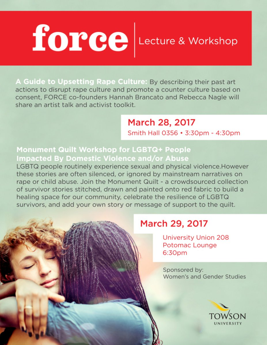 Check out these two workshops offered on campus this week! #MonumentQuilt #NotAlone <br>http://pic.twitter.com/H1xBbi150D