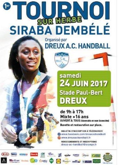 Le 24 JUIN 2017 le Dreux A.C. #Handball organise le &quot;1er Tournoi sur herbe SIRABA DEMBELE&quot; qui se déroulera sur le stade Paul-Bert de Dreux. <br>http://pic.twitter.com/xb3GG7Nuki