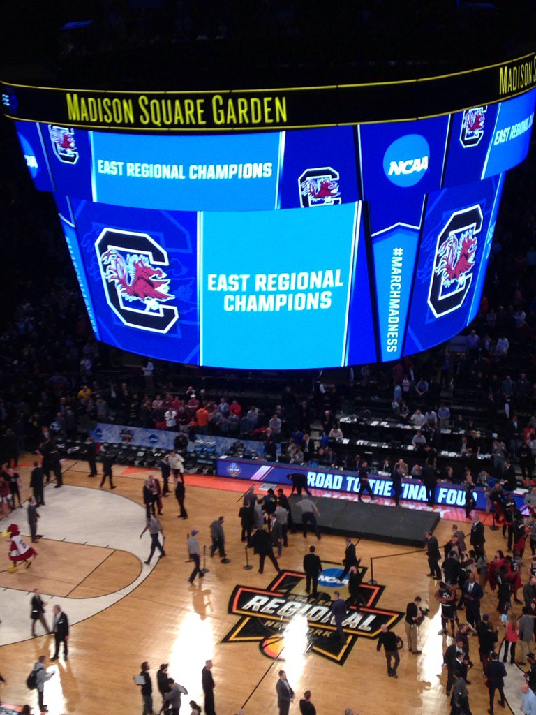 That's a 77-70 final to a terrific game. South Carolina moves on to the Final Four. In related news, holy crap. https://t.co/vVQ82A9KmV