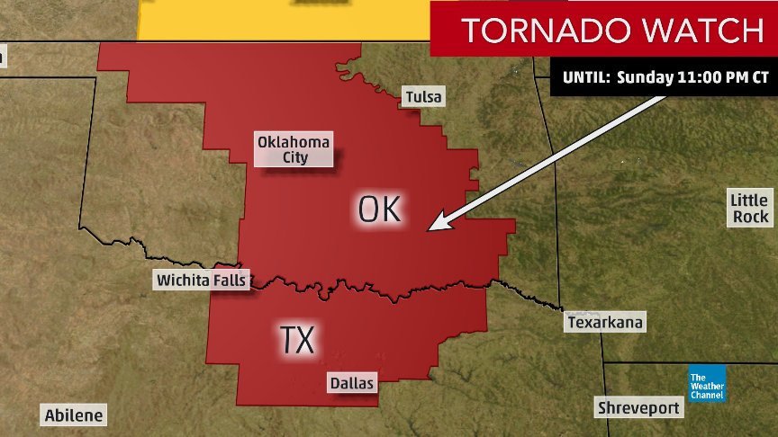 NEW: A #tornado watch has been issued for parts of OK and TX until 11...