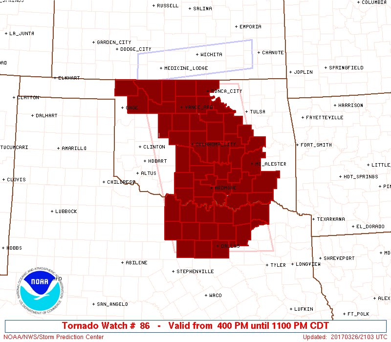405pm - here's the map of the tornado watch, valid until 11pm. #okwx #...