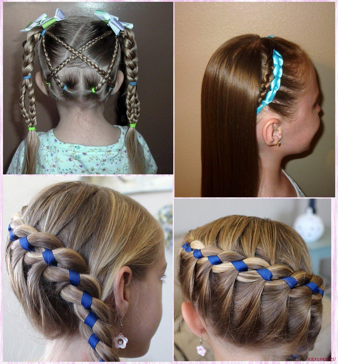 Коса с атласной лентой – прекрасный вариант как для прогулки, так и для торжественных случаев.