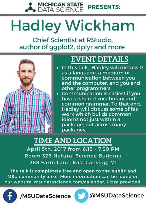 April 5th 6:15-7:30pm  @hadleywickham will be at MSU thanks to @MSUDataScience https://t.co/bhlXK2bRwz