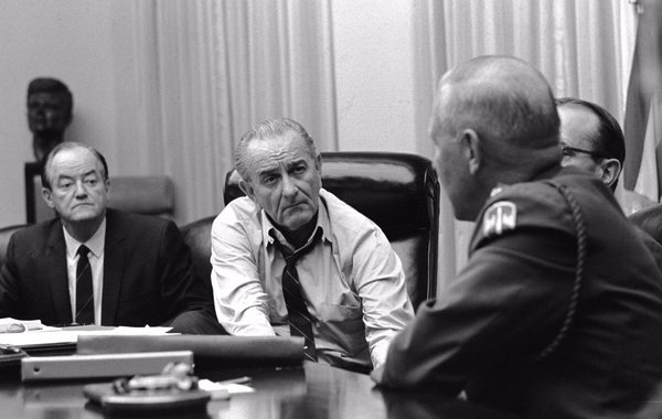 LBJ agonizing (with Humphrey & Generals) over Vietnam & whether to run for reelection, tomorrow 1968:   #LBJL