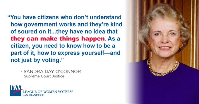 Happy birthday to Sandra Day O\Connor, the first woman to serve as a Supreme Court Justice.