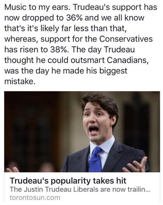 #Trudeau chute dans les sondages  @LP_LaPresse @RadioCanadaInfo<br>http://pic.twitter.com/QfWpDZxzLV