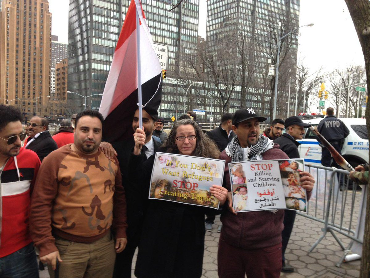 Today at @UN: #NYC #Protest for #Yemen until the police told us the permit was fake (it wasn&#39;t) &amp; &quot;suggested&quot; we leave. #Together4Yemen<br>http://pic.twitter.com/VdleswNUu8
