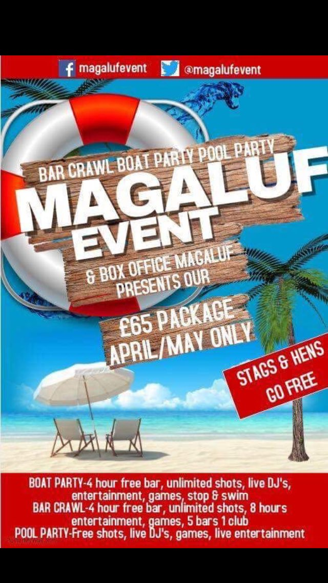 This is happening   £65 package  Who&#39;s coming Maga  #magaluf #maga17 #stagandhens #groups #workers #partypeople  #MAGALUFEVENT <br>http://pic.twitter.com/Q0NMGPl8Yl