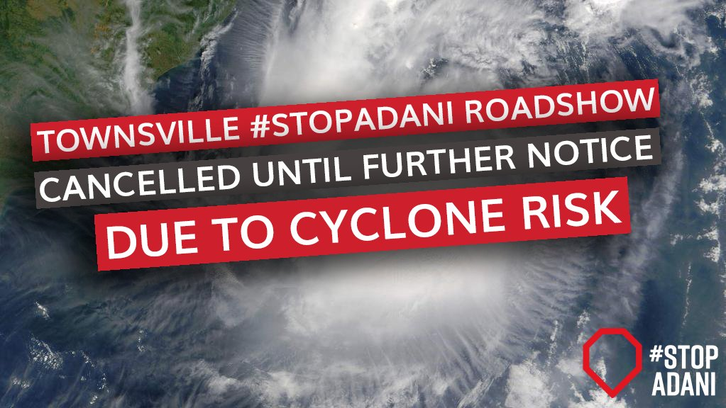 Stay safe Townsville. One thing is sure, if we don&#39;t #StopAdani, we can expect more extreme weather events like this. #climatechange #coal <br>http://pic.twitter.com/dXL7whyea2