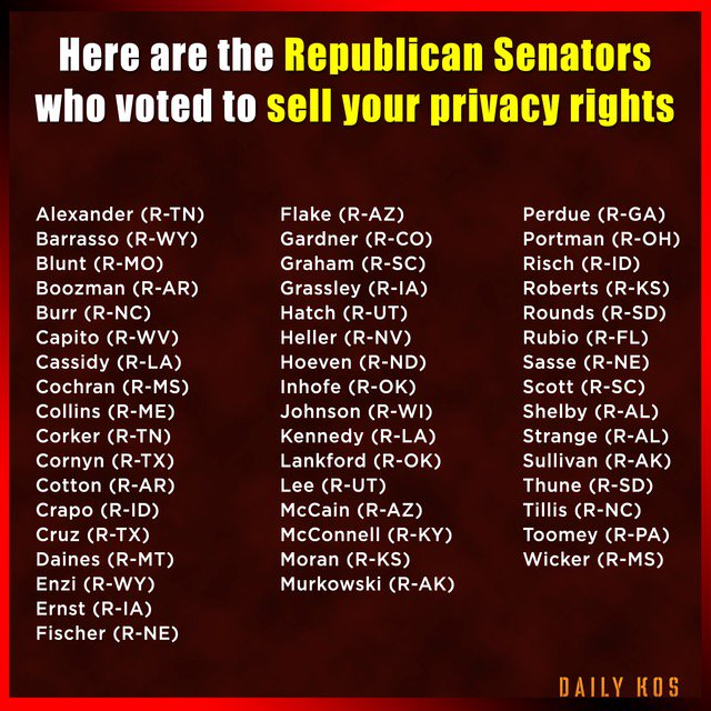 The names of the #GOP #Republican #Senators who voted to sell your #privacyrights.<br>http://pic.twitter.com/0fyP69Vwe2