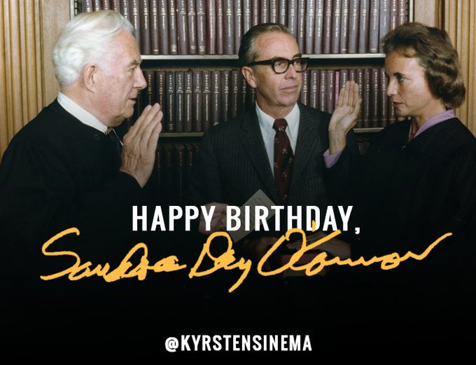 Happy birthday to Sandra Day O\Connor, the first woman Supreme Court Justice!