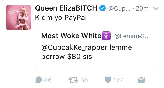 A fan randomly asked Cupcakke for $80 on Twitter and she did. She\'s truly a kind, generous soul. ❤