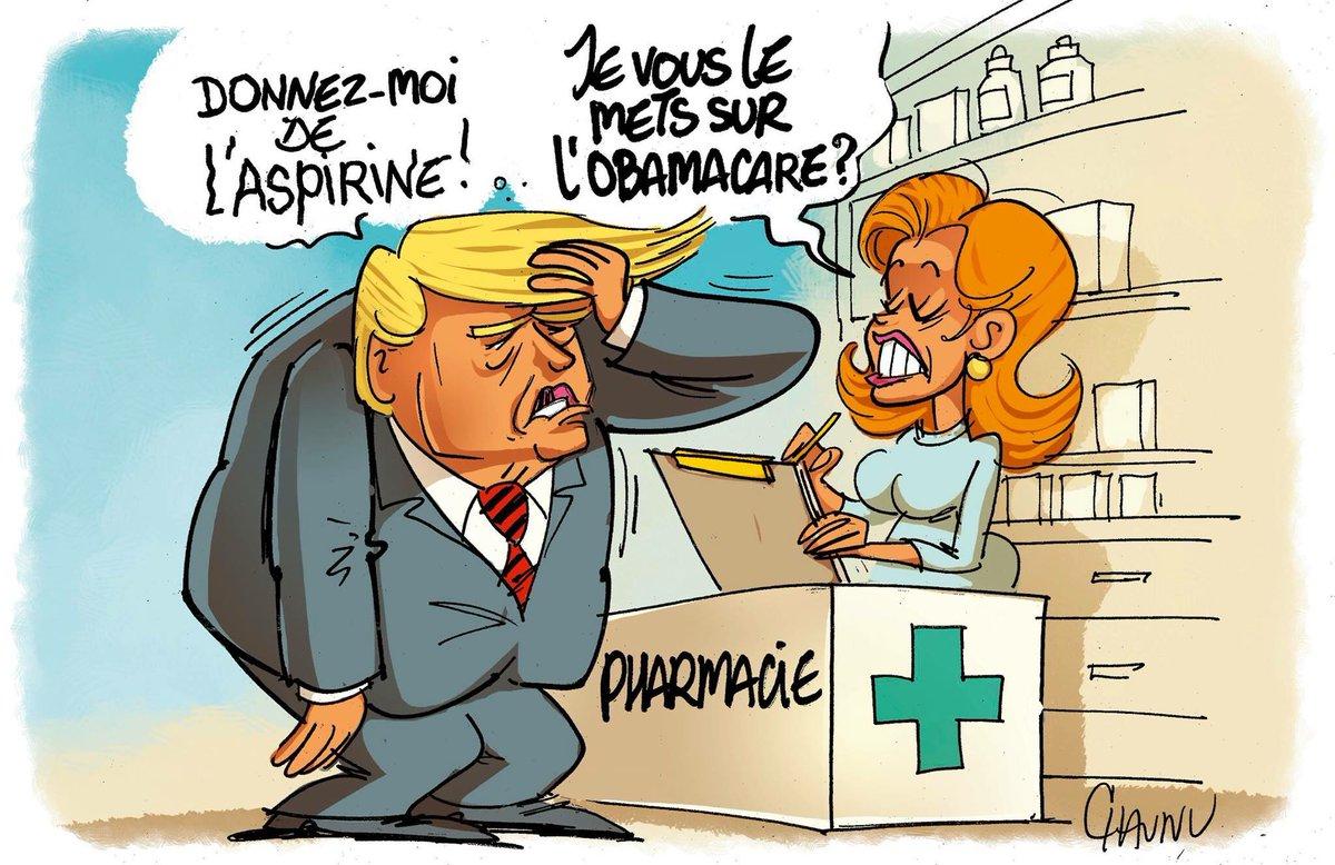 Dessin du jour dans @OuestFrance @realDonaldTrump et l&#39;abrogation de #Obamacare <br>http://pic.twitter.com/9eG1RKyQiR