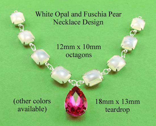 white opal glass octagon jewels and fuschia pink teardrop in a DIY necklace design