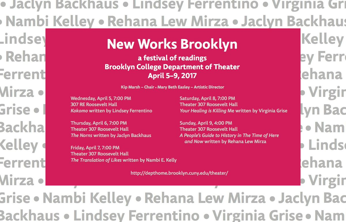 Announcing this year&#39;s New Works Brooklyn playwrights and directors! #NWB2017 <br>http://pic.twitter.com/hNw23SEvWD