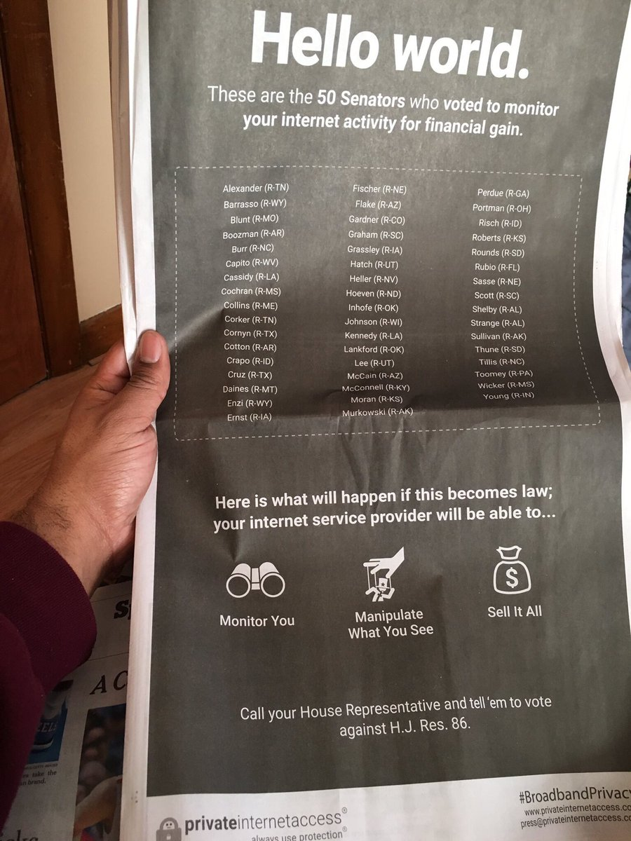 Private Internet Access, a VPN provider, takes out a full page ad in The New York Times calling out 50 senators. https://t.co/Kn3xQJAVXI
