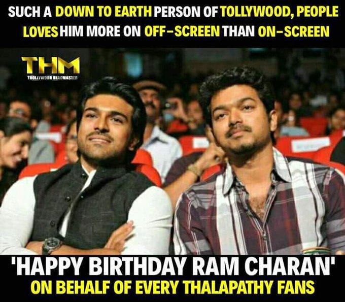 Happy  Birthday  Ram charan garu  From  Illayathalapathy vijay fans