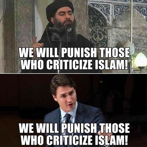 #Trudeau notre Bisounours en chef est en accord total au moins sur un point avec le leader de #Daech . &quot; punir ceux qui critiquent l&#39;Islam&quot;<br>http://pic.twitter.com/GW1WB5sTVy