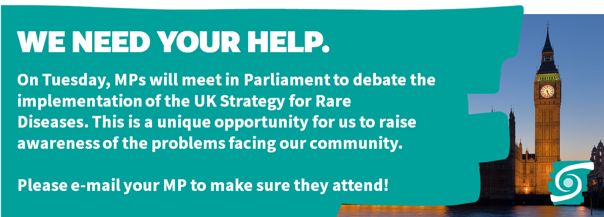 We need your help. Please e-mail your MP about the Westminster Hall Debate on #raredisease TOMORROW so they attend  https://www. raredisease.org.uk/news-events/ne ws/we-need-your-help-westminster-hall-debate-on-the-uk-strategy-for-rare-diseases/ &nbsp; … <br>http://pic.twitter.com/IhlGR10df8