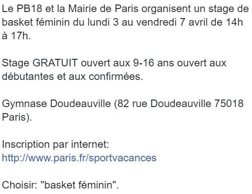 Stage de basket féminin pour les 9-16 ans organisé avec la mairie @Paris.Inscrivez-vous #basketfeminin #sportfeminin #paris #paris18 #stage <br>http://pic.twitter.com/toAVrcAZdI