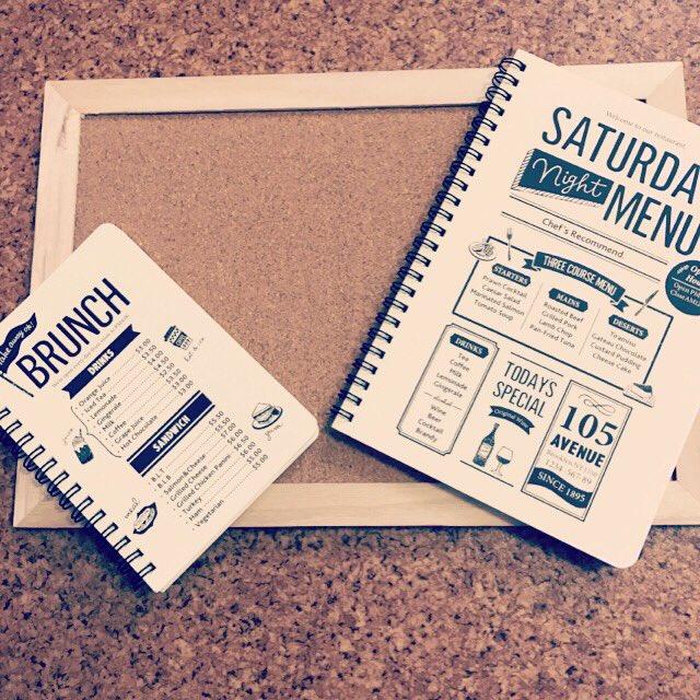 test ツイッターメディア - メニューボード欲しくてセリアのノートとコルクボードで作成( ´ ▽ ` )? おかげさまで行き場のない表紙なしノート2冊出来てしまった( ´ ▽ ` ) #セリア  #100均DIY  #カフェ風 https://t.co/f6bWlA5UXM