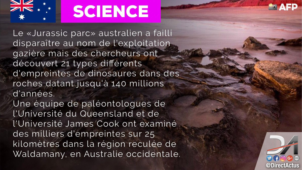 #SCIENCE  Un «Jurassic park» découvert en #Australie. 21 types de traces différentes ont été identifiées.<br>http://pic.twitter.com/N1nMNZDy9C