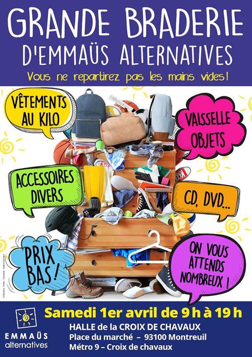 GRANDE #BRADERIE d&#39;#Emmaüs Alternatives à la #HalledelaCroixdeChavaux à #Montreuil le 1er #Avril! #VETEMENTS #venteaukilo #brocante #objets<br>http://pic.twitter.com/HN9dMzlM3z