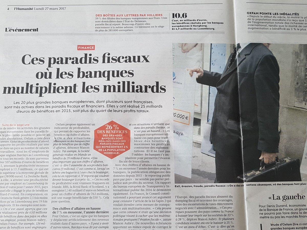 A lire dans @humanite_fr  Le rapport @oxfamfrance sur les  #ParadisFiscaux 80Mds de pertes pr l&#39;Etat. STOP à l&#39;#EvasionFiscale <br>http://pic.twitter.com/R21V5Qooz2