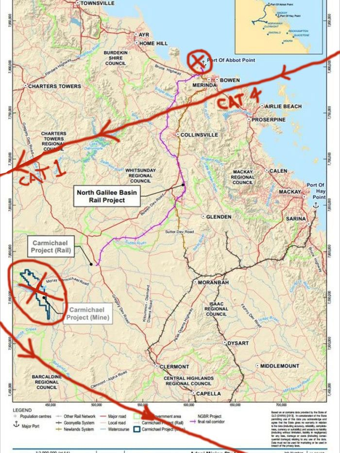 Track of #CycloneDebbie showing Abbot Point &amp; Carmichael mine project - What could possibly go wrong ? #Adani #Coal #climatechange #qldpol<br>http://pic.twitter.com/e8NVkfqWuP