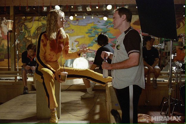 Quentin Tarantino sul set di alcuni dei suoi film più conosciuti.  Happy birthday King of Pulp