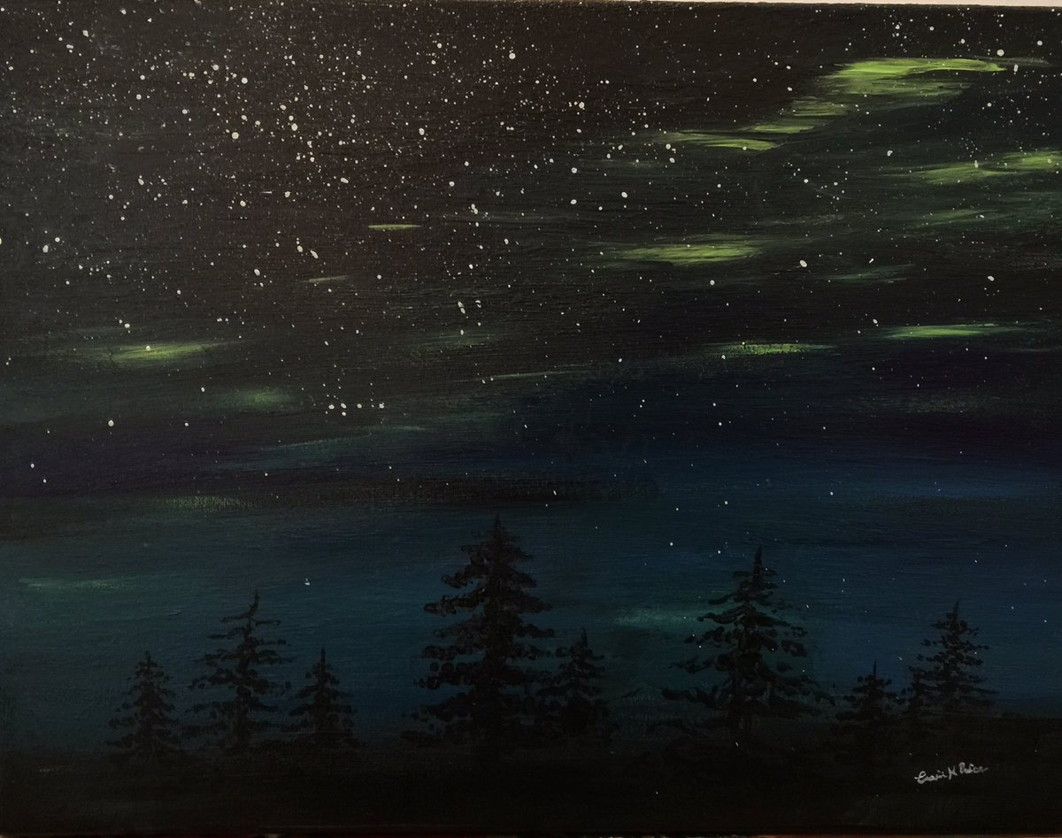 I wish I may, I wish I might... #Auroraborealis #Nightscape #Painting ready to go - 12x16 on Canvas<br>http://pic.twitter.com/FrAeF9xdCe