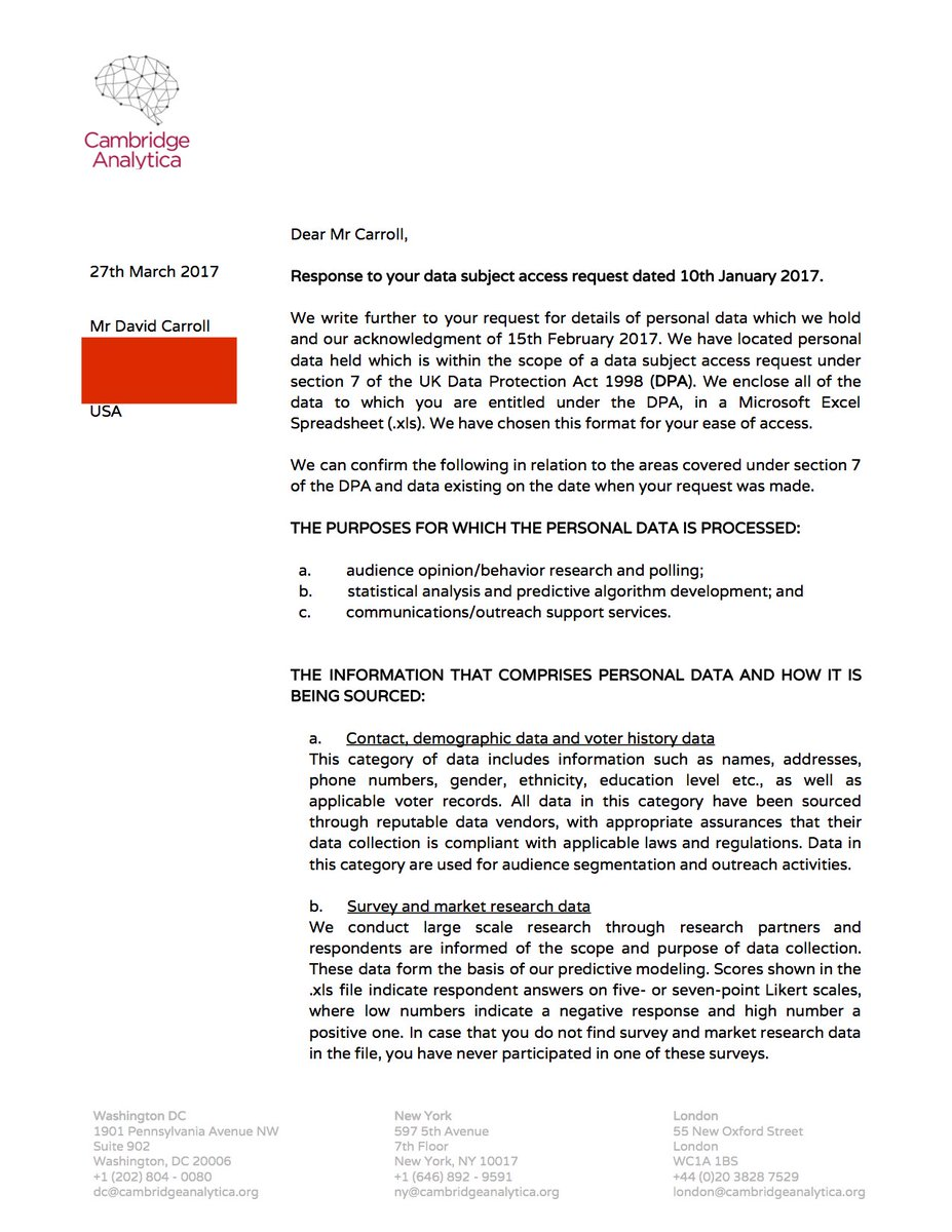 David carroll on twitter 4 here is letter provided by david carroll on twitter 4 here is letter provided by cambridge analyticascl with request describing data protection policy jurisdictions and their spiritdancerdesigns Choice Image