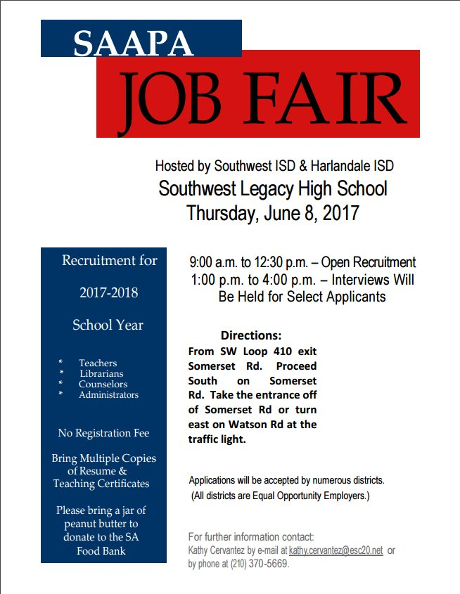 Northside Isd Hr On Twitter Mark Your Calendars Saapa Job Fair