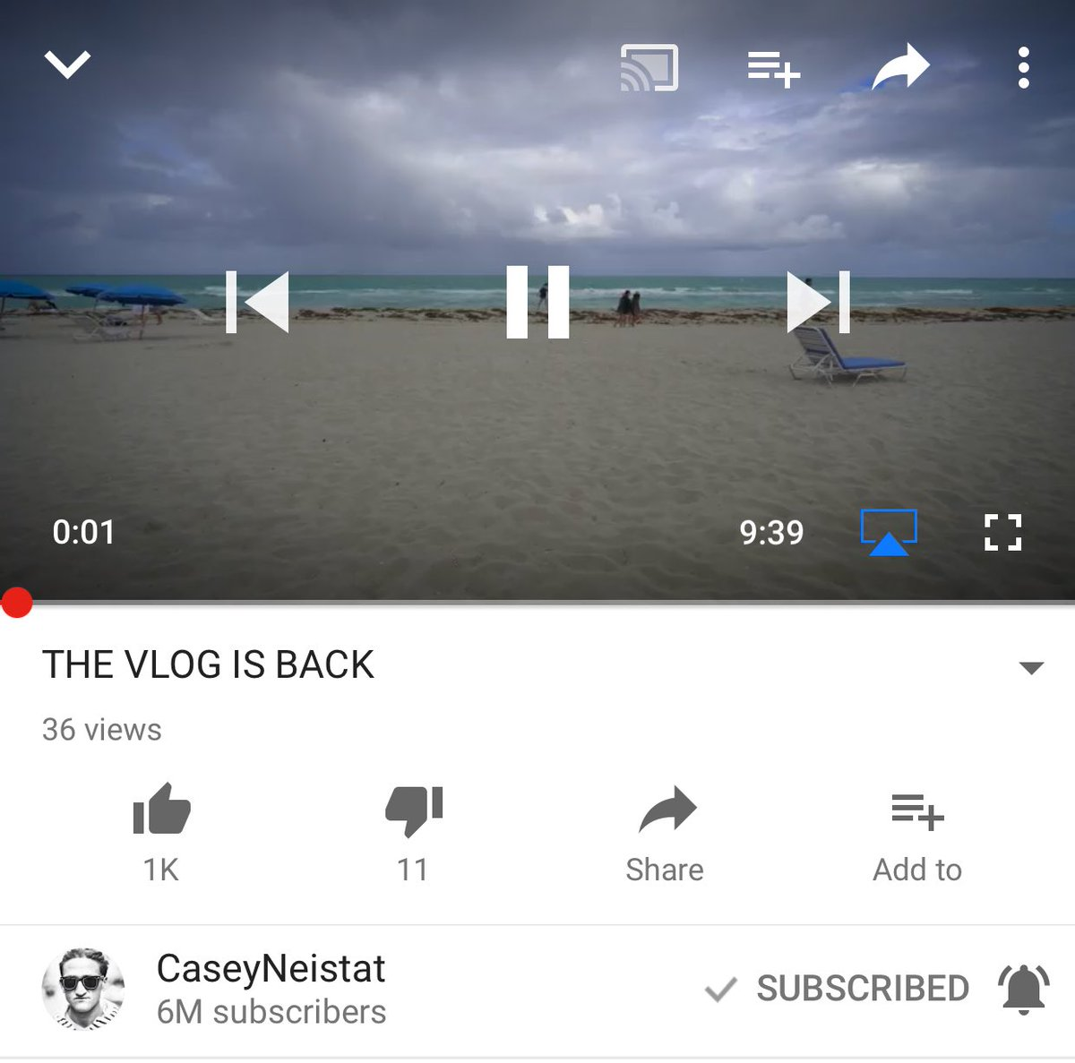 The vlog is back!  @CaseyNeistat   https://t.co/6apoMJRxor https://t.c...