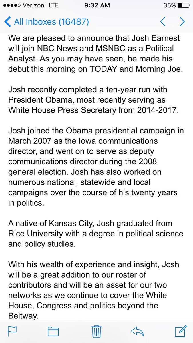 Josh earnest joins NBC as an analyst https://t.co/rjNwVIfHWp