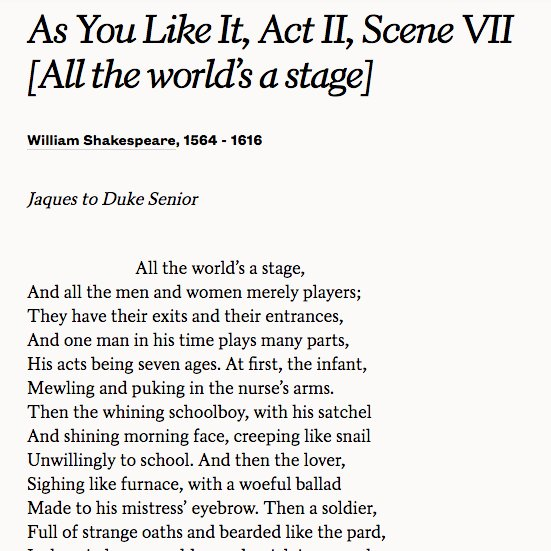 all the worlds a stage by william shakespeare