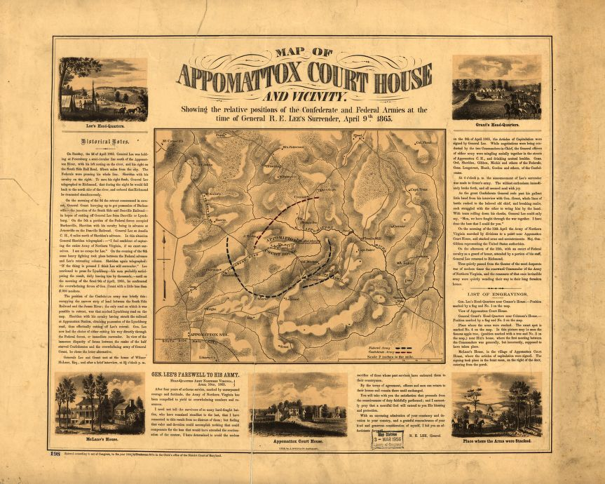 Map showing the positions of the Confederate & Federal Armies at the time of General Lee's surrender, #OTD in 1865  https://t.co/BzRCE5rVtM https://t.co/OpNKdwGiIL