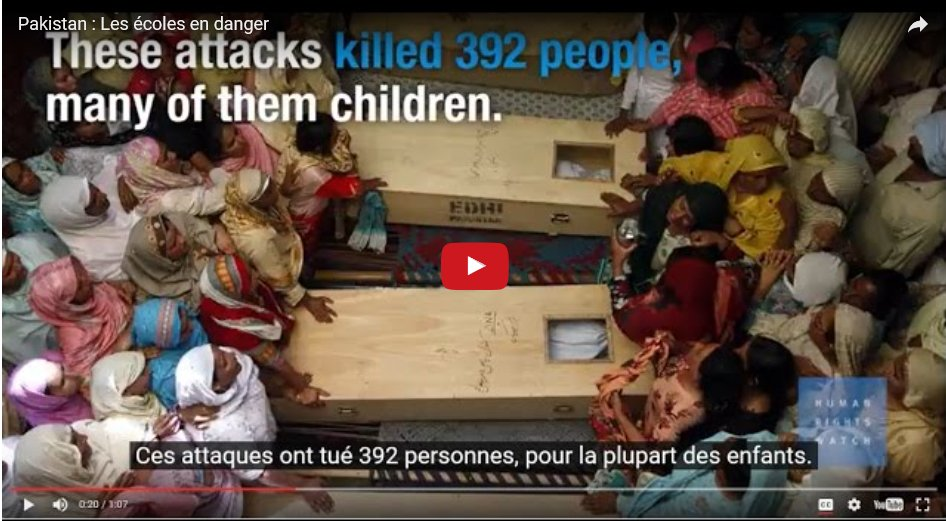 #Pakistan – Les #écoles en danger, HRW appelle à mieux les protéger. Courte vidéo s/titres FR  https:// youtu.be/UJqM1ccKBVE  &nbsp;  <br>http://pic.twitter.com/wEnAyhweaV