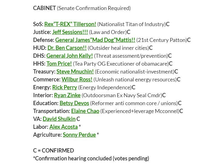 Acosta Secretary of Labor and Perdue Secretary of Agriculture are the last two FULL Cabinet positions to be filled. #TrumpTransition <br>http://pic.twitter.com/Wv6lxqzh26