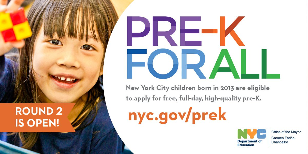 NYC parents! Round 2 of #preKforAll applications starts today! If you didn't apply to pre-K, do it now: nyc.gov/prek