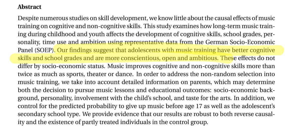 Adolescents with music training have better cognitive skills &amp; are more conscientious, open and ambitious.  http:// buff.ly/2ndC1kg  &nbsp;   #musiced <br>http://pic.twitter.com/n218sBrN03