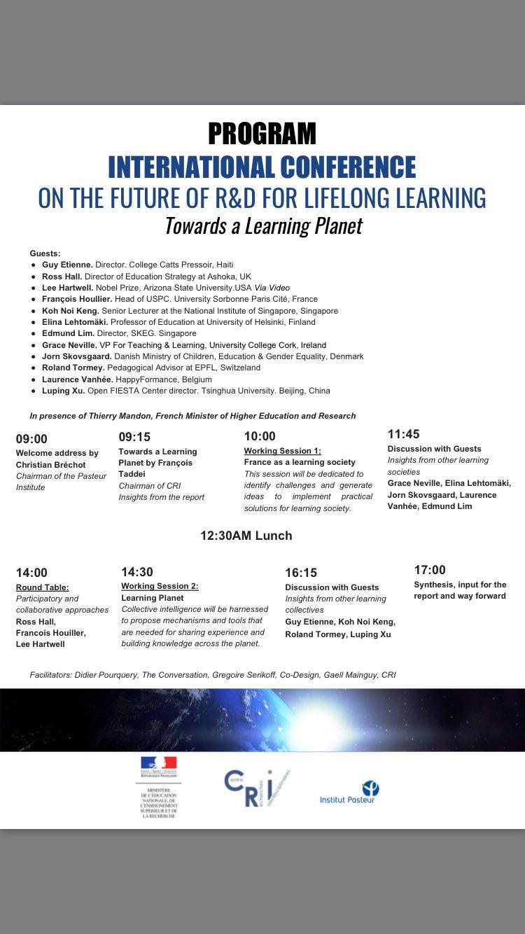 Voici le programme du colloque international organisé par le CRI demain à l'institut Pasteur Paris.#RnDedu #Eduinov @rndapprendre À demain! https://t.co/O1Geetmq6c