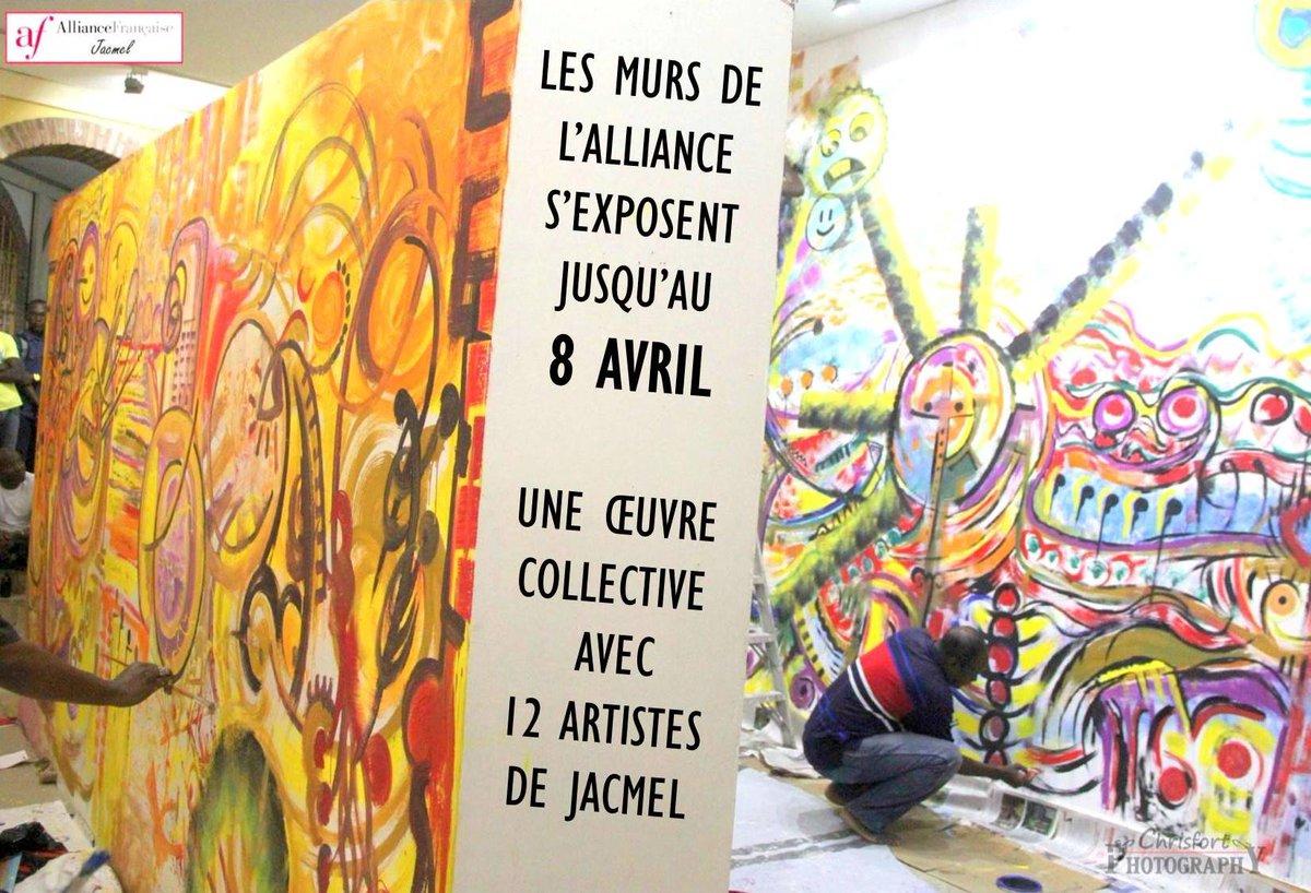Rénovée avec le soutien de l&#39;Ambassade, la salle d&#39;expo de l&#39;Alliance fr. de #Jacmel accueille des oeuvres éphémères peintes à même les murs <br>http://pic.twitter.com/eNoLXhofGq