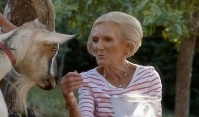 Mary Berry attacked by a goat as she tries to milk it on her BBC TV sh...