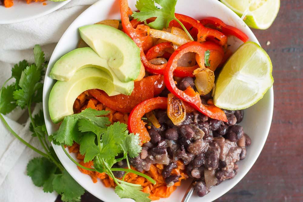 Healthy burrito bowl. #MeatlessMonday LIGHTENED UP BLACK BEAN BURRITO...