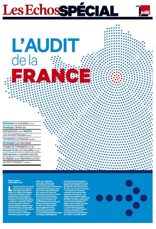 Demain, @LesEchos passe la France au crible dans un cahier spécial de 24 pages : #AuditFrance #Presidentielle2017  http:// bit.ly/2n9MB81  &nbsp;  <br>http://pic.twitter.com/1zS1oDejDI